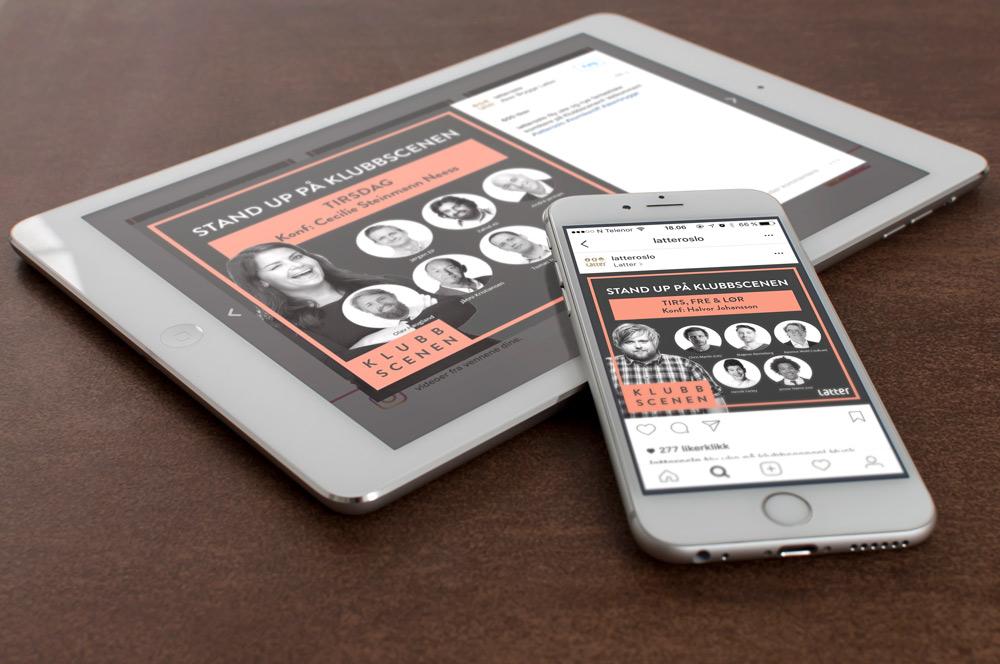 Design av materiell til sosiale medier i Latter